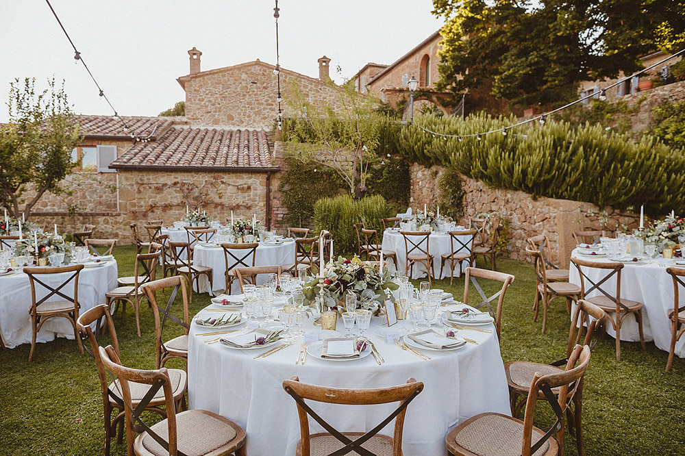 Tuscany romantic small wedding villa reception