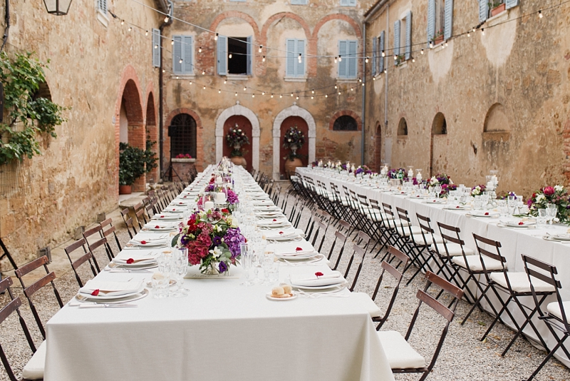 Tuscany romantic small wedding villa courtyard
