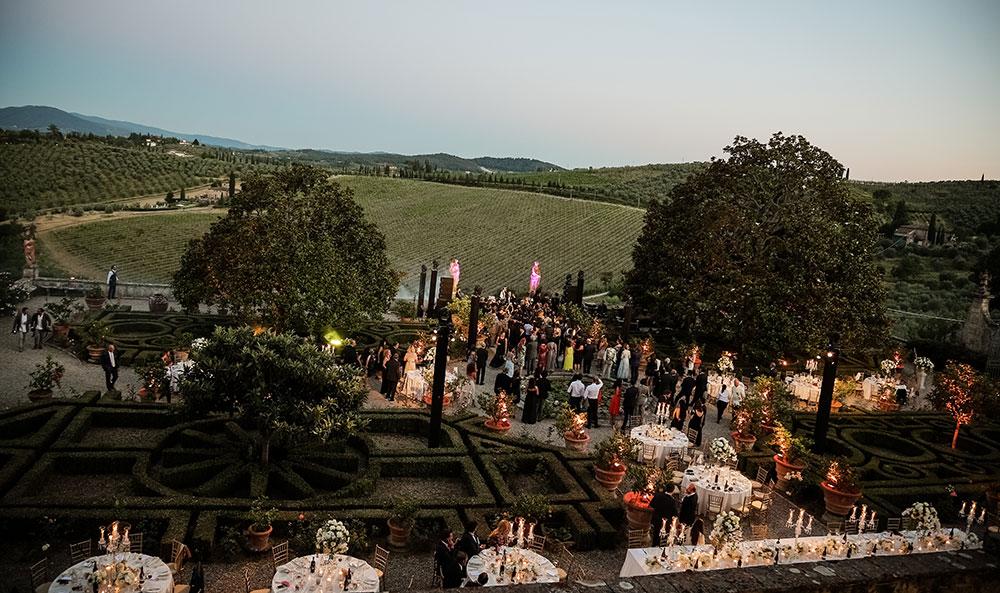 Villa Corsini mezzomonte luxury Tuscan wedding venue gardens
