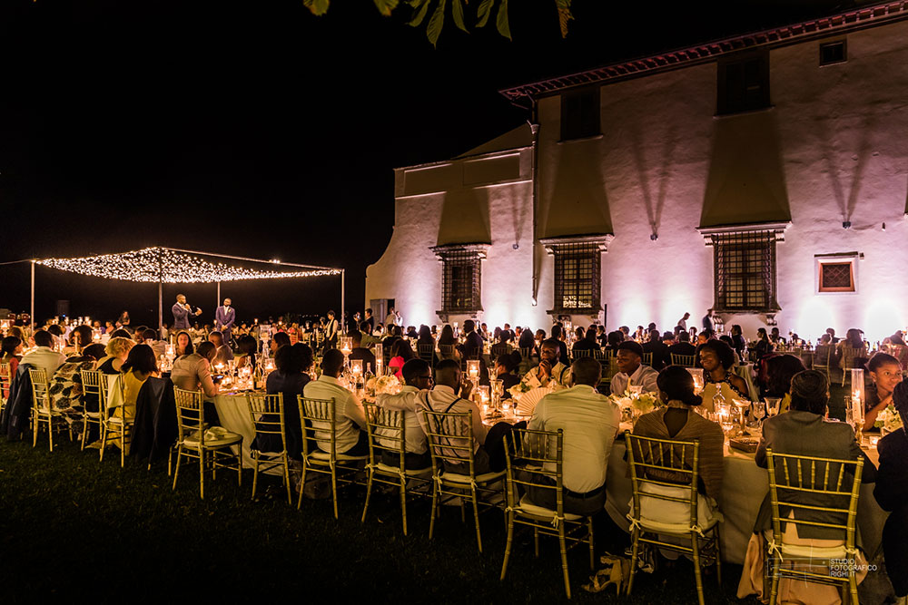 Villa Corsini mezzomonte luxury Tuscan wedding meal