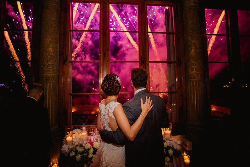 Villa Corsini mezzomonte luxury Tuscan wedding fireworks