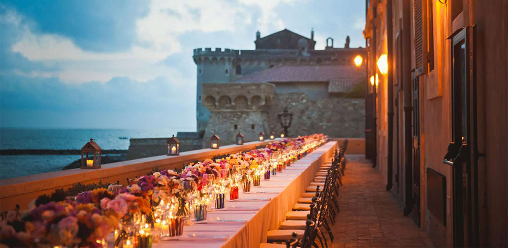 Coastal villa near Rome wedding venue meal on terrace