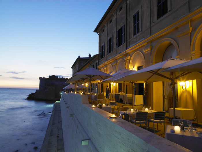 Coastal villa near Rome wedding venue terrace