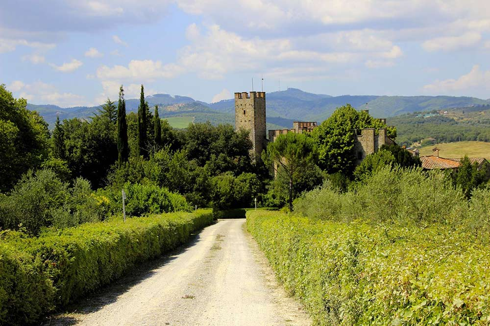 Castle in Siena coutryside wedding venue panorama