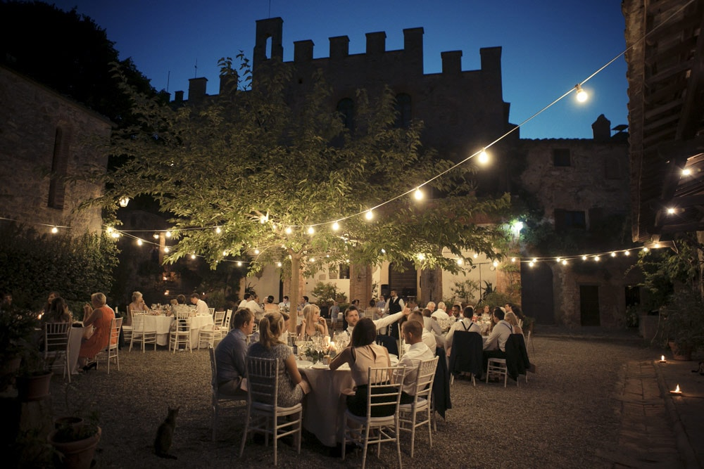 Castle in Siena countryside wedding venue meal