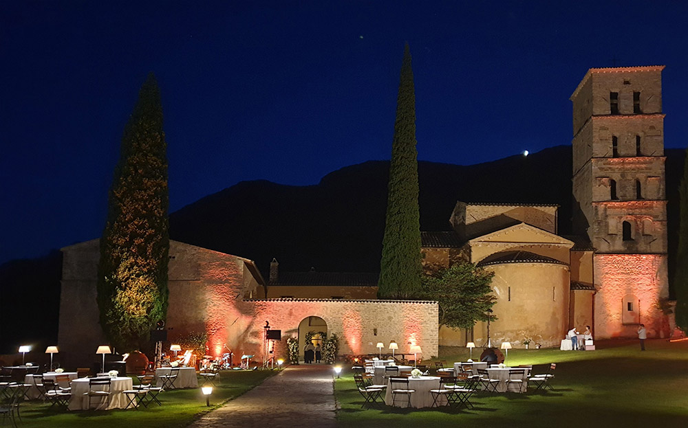 Abbey in southern Umbria wedding venue evening