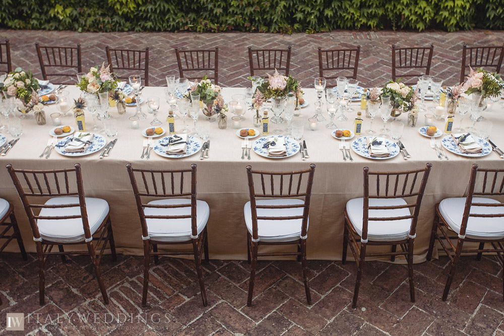 A blessing in Umbria private villa ceremony table setup