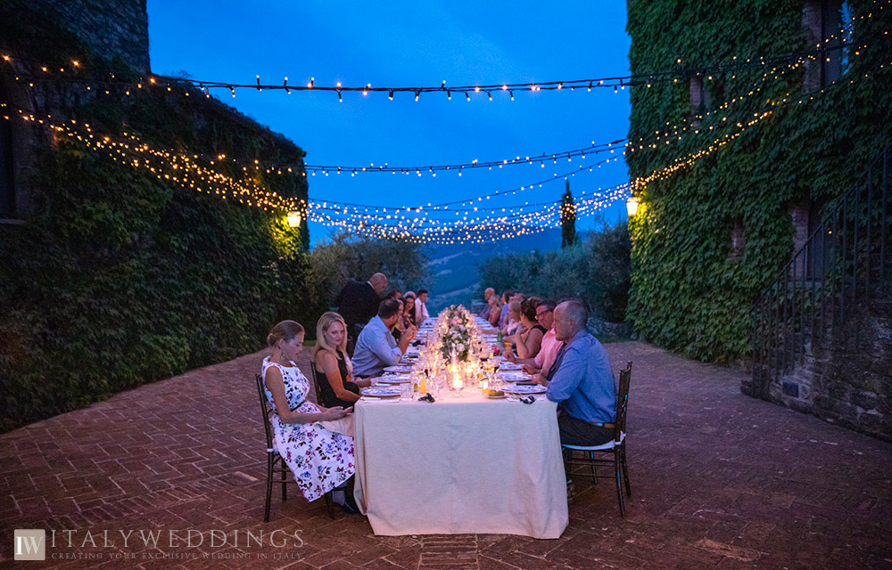 A blessing in Umbria private villa ceremony lights